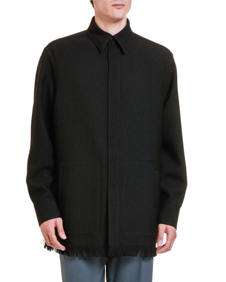 Valentino Men's Fringed-Hem Wool Cardigan