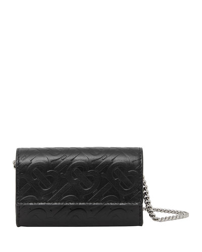Men's TB-Monogrammed Leather Wallet on Chain