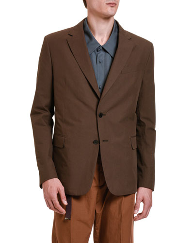 Men's Solid Twill Two-Button Jacket