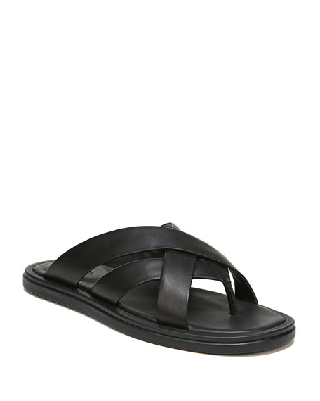 Vince Men's Dunbar Strappy Leather Slide Sandals