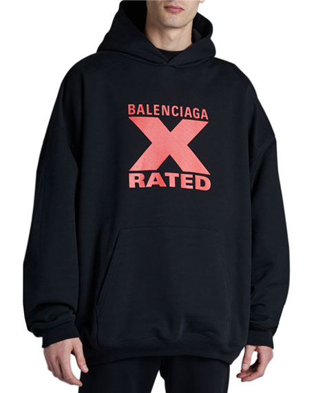 Balenciaga Men's X-Graphic Large-Fit Pullover Hoodie