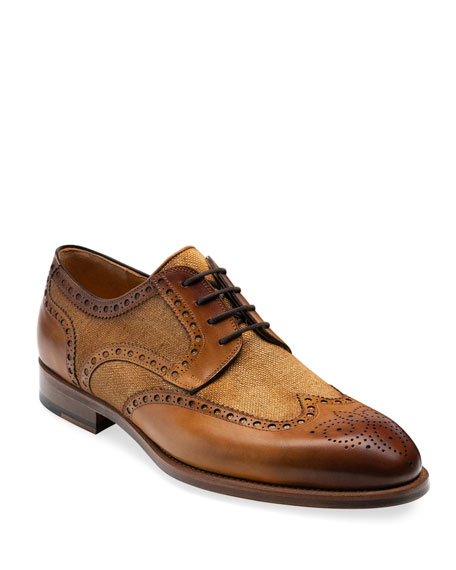 Magnanni Men's Asturia Wing-Tip Canvas/Leather Derby Shoes