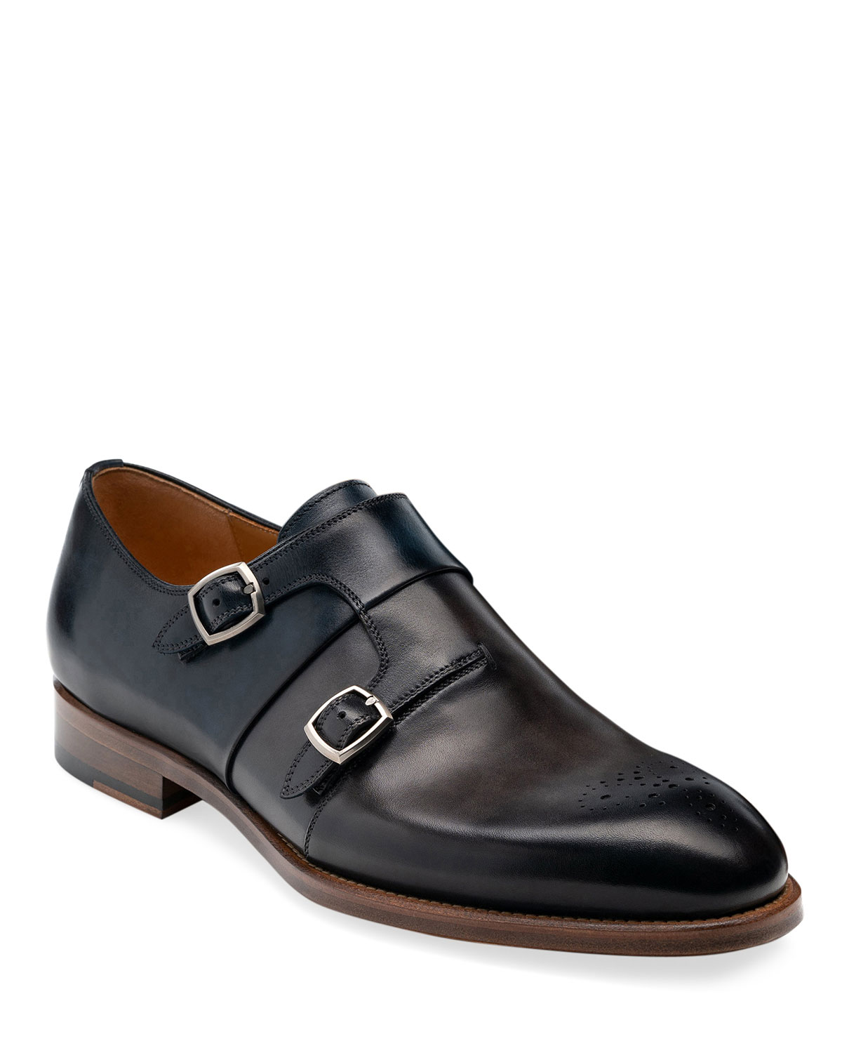Men's Maurici Double-Monk Leather Loafers