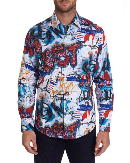 Robert Graham Men's Pichacao Graffiti-Print Sport Shirt