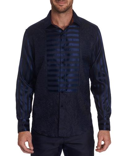 Men's Opera Blue Satin-Stripe Sport Shirt