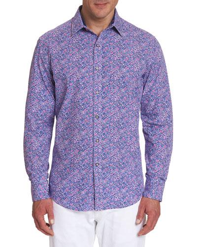 Men's Precision Floral Contrast-Reverse Sport Shirt
