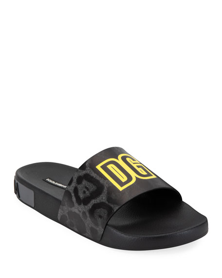 Dolce & Gabbana Men's Leopard Pattern Rubber Slide Sandals