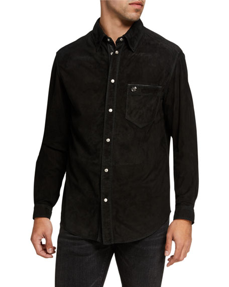 Stefano Ricci Men's Suede Button-Down Sport Shirt