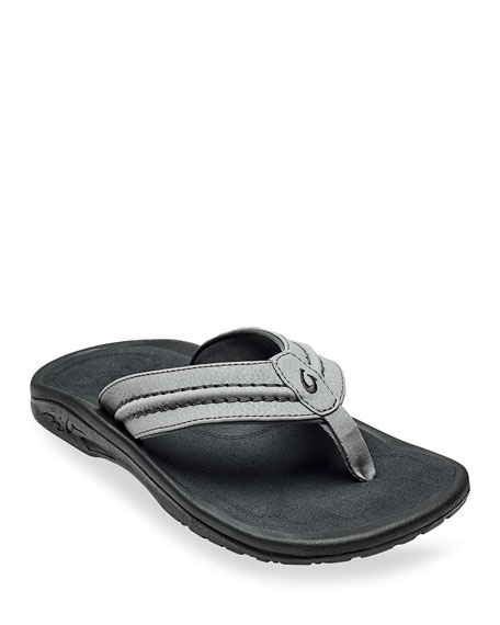 Olukai Men's Hokua Faux-Leather Flip-Flop Sandals