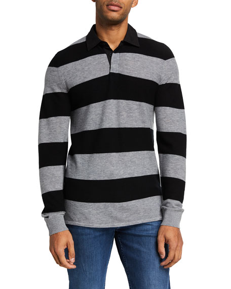 7 for all mankind Men's Wool Rugby Stripe Sweater w/ Shirt Collar