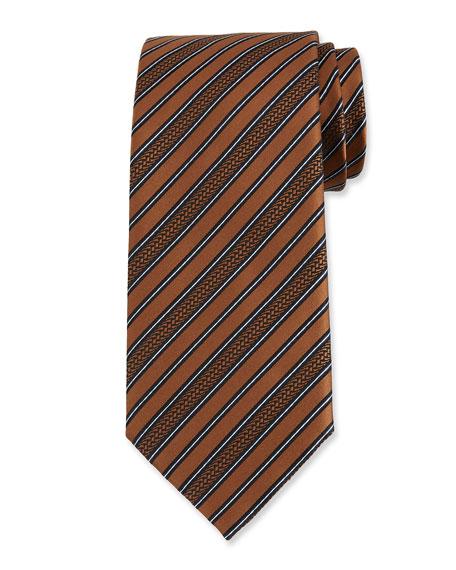 Ermenegildo Zegna Men's Textured Stripe Silk Tie
