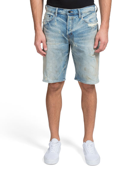 PRPS Men's Shredded 5-Pocket Denim Shorts