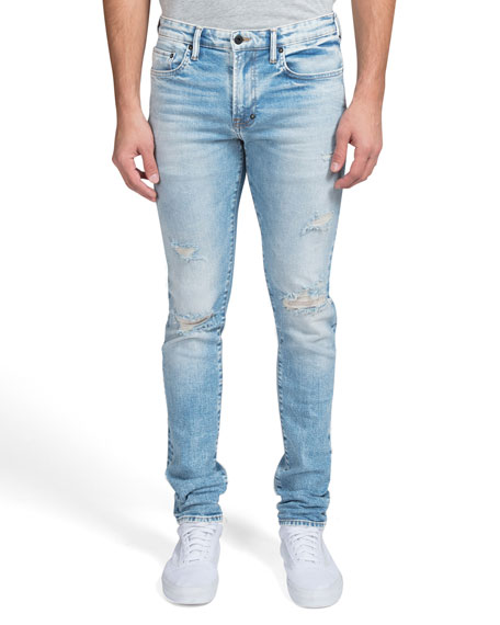 PRPS Men's Windsor Over-Washed Knee-Rip Skinny Jeans