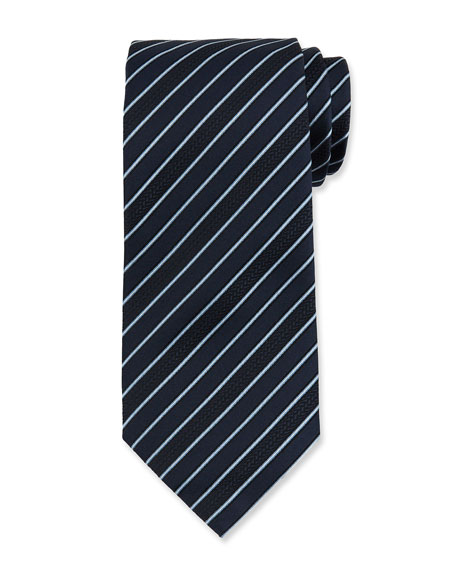 Ermenegildo Zegna Men's Textured Stripe Silk Tie