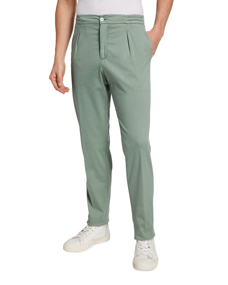 Marco Pescarolo Men's Garment-Dyed Old Vintage Tapered Pants, Green