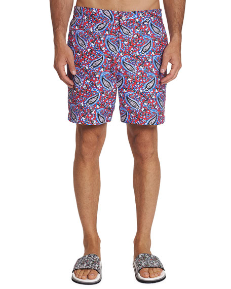 Robert Graham Men's Continental Paisley-Print Swim Trunks