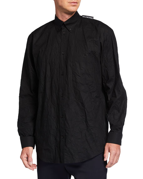 Balenciaga Men's Wrinkled Button-Collar Sport Shirt