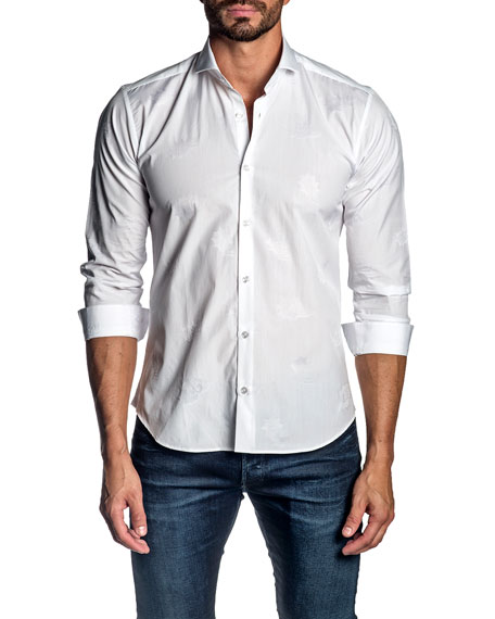 Jared Lang Men's Tonal Jacquard Sport Shirt