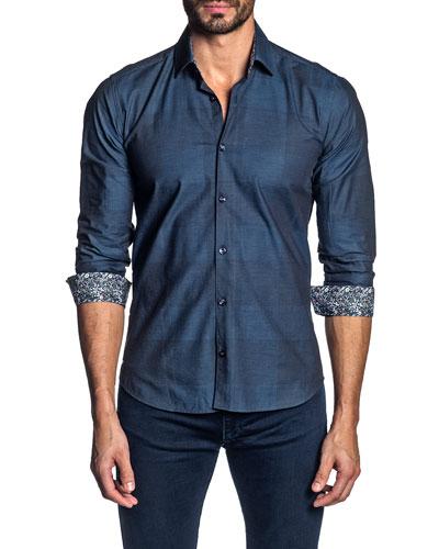 Men's Check Contrast-Reverse Sport Shirt