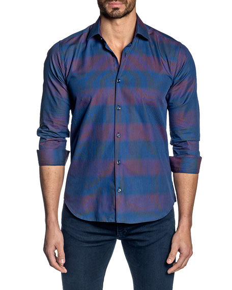 Jared Lang Men's Striped Long-Sleeve Sport Shirt
