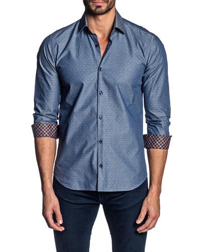 Men's Contrast-Reverse Denim Sport Shirt