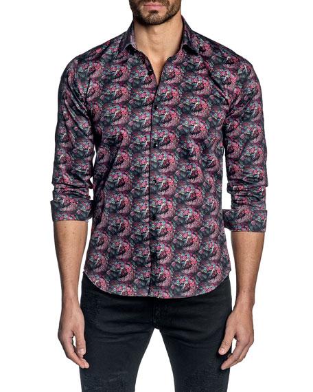 Jared Lang Men's Long-Sleeve Blackberry-Print Sport Shirt