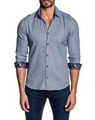 Jared Lang Men's Houndstooth Contrast-Reverse Sport Shirt