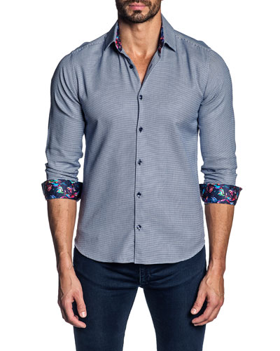 Men's Houndstooth Contrast-Reverse Sport Shirt
