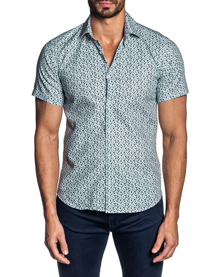 Jared Lang Men's Short-Sleeve Floral Sport Shirt