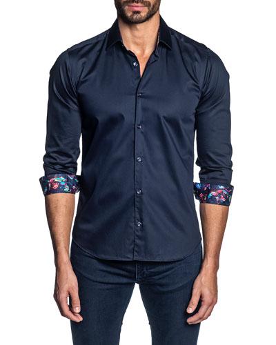 Men's Long-Sleeve Contrast-Reverse Sport Shirt