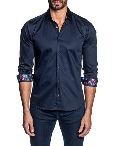 Jared Lang Men's Long-Sleeve Contrast-Reverse Sport Shirt