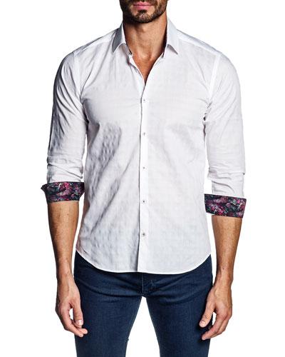 Men's Jacquard Contrast-Reverse Sport Shirt