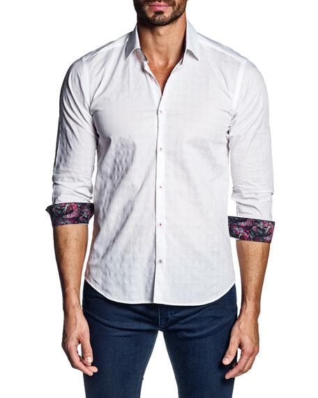 Jared Lang Men's Jacquard Contrast-Reverse Sport Shirt