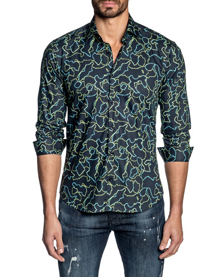 Jared Lang Men's Long-Sleeve Abstract Sport Shirt