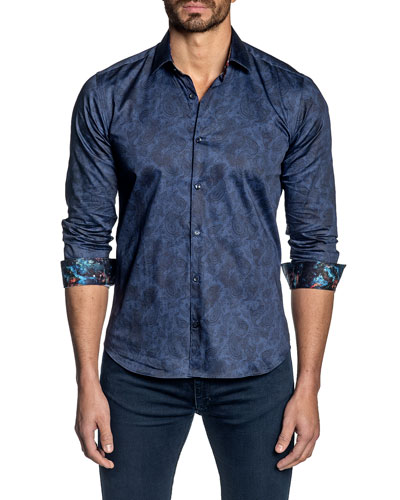 Men's Long-Sleeve Paisley Sport Shirt with Contrast Cuffs