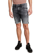 G-Star Men's 3301 Slim Distressed Denim Shorts w/
