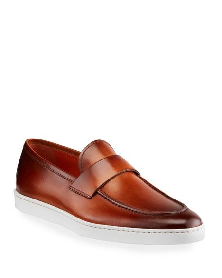 Santoni Men's Pace Soft Burnished Leather Slip-Ons