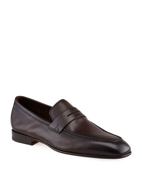 Santoni Men's Imam Soft Burnished Leather Penny Loafers