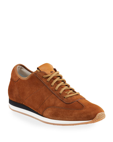 Santoni Men's Pause Soft Suede Low-Top Sneakers