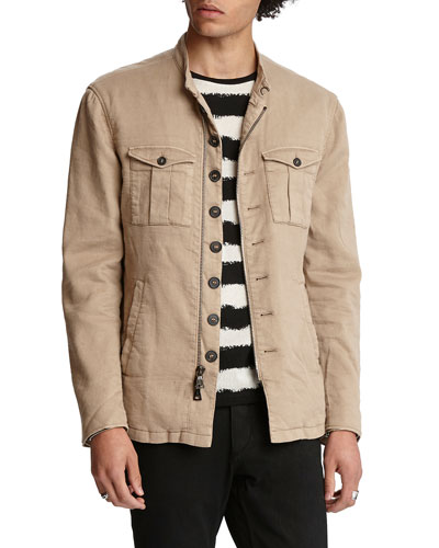Men's Garment Dye Slim Fit Modern Military Jacket