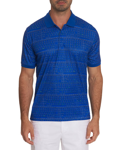 Robert Graham Men's Decode Keyboard-Print Jersey Polo Shirt