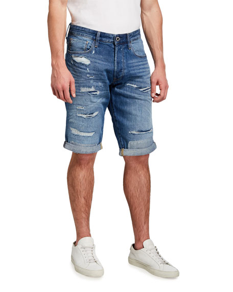 G-Star Men's 3301 Faded Ripped Denim Shorts