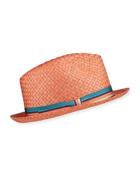 Paul Smith Men's Woven Straw Fedora Hat w/ Striped Band