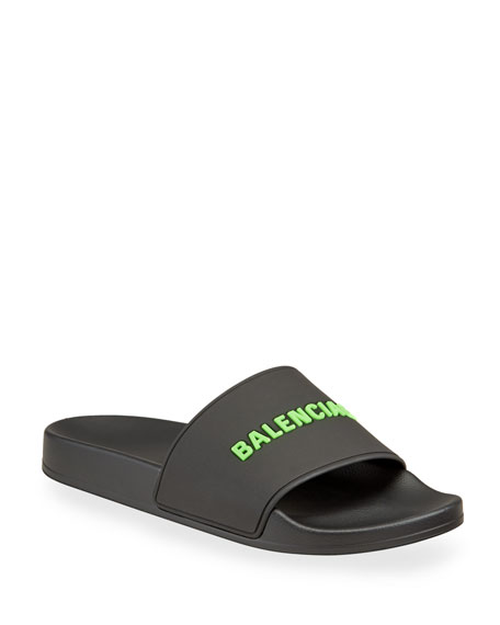 Balenciaga Men's Rubber Logo Pool Slide Sandals