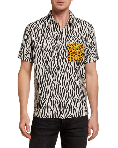 R13 Men's Tony Mixed Animal-Print Sport Shirt