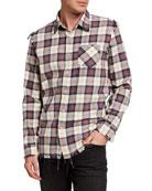 R13 Men's Shredded-Seam Plaid Sport Shirt