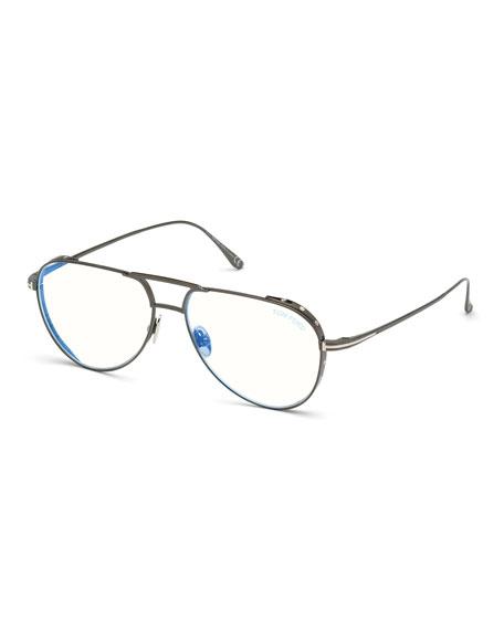 TOM FORD Men's Titanium Aviator Blue-Block Optical Frames