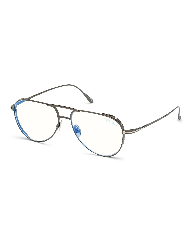 Men's Titanium Aviator Blue-Block Optical Frames