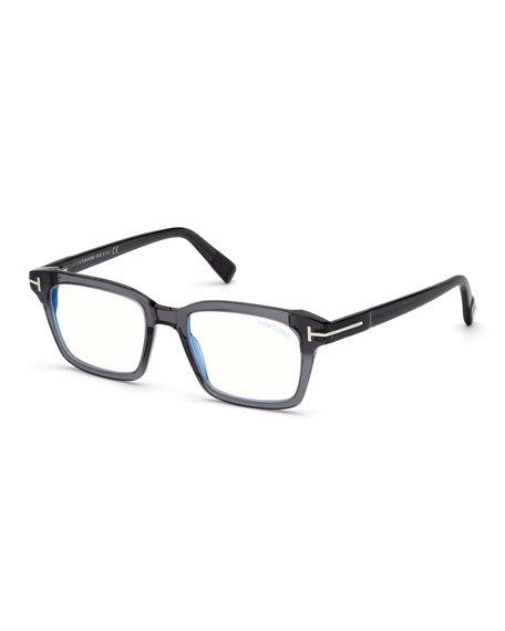 TOM FORD Men's Square Acetate Blue-Block Optical Frames
