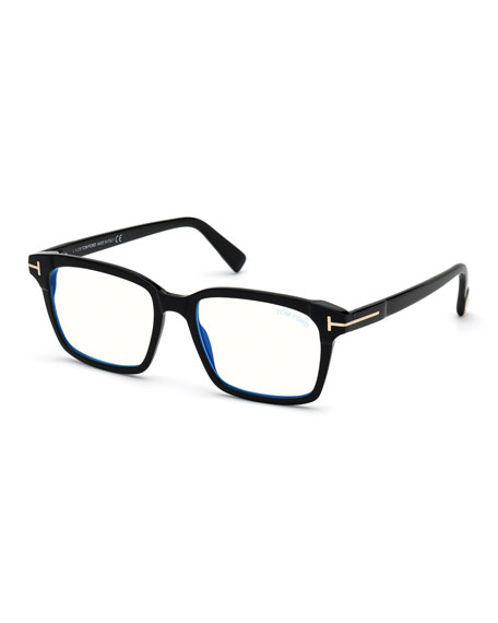 TOM FORD Men's Blue Block 51mm Square Acetate Optical Glasses
